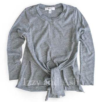 Joah Love|Joah Love Fall 2017|Joah Love Clothing|Joah Love Girls Grey Tie Front Top|Joah Love Ahyoung Top|Tween Clothing|Toddler Girls Clothes|Designer Children's Clothing|Trendy Tween Clothes|Fashionable Toddler Clothes