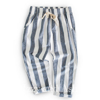 Joah Love Girls Stripe Keen Cuffed Pant|Joah Love|Joah Love Spring 2017|Girls Stripe Pants|Girls Drawstring Pants|Girls Chambray Pant|Linen Pants|Blue Stripe Pants|Toddler Stripe Pants|Tween Stripe Pants