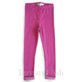 Joah Love Girls Magenta Heart Cuffed Legging|Joah Love|Joah Love Fall 2016|Girls Legging|Toddler Girls Legging|Tween Legging