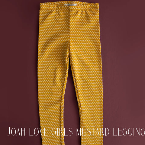 Joah Love Girls Mustard Polka Dot Legging|Joah Love|Joah Love Girls Legging|Joah Love Legging|Designer Girls Clothing|Joah Love Clothing|Mustard|Trendy Children's Clothes|Fashionable Children's Clothes|Cute Girls Clothes|Mustard Leggings|Girls Bottoms|Tween|Tween Leggings|Toddler Girls Legging