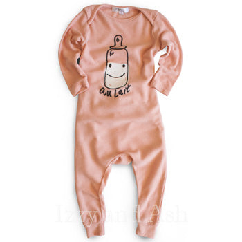 Joah Love Infant Girls Au Lait No Snap Onesie|Joah Love|No Snap Onesie|Bottle Onesie|Pink Onesie|Baby Clothes|Unique Baby Clothing