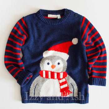 JoJo Maman Bebe Boys Penguin Jumper Sweater|JoJo Maman Bebe|Children's Holiday Sweater|Kid's Sweaters|Boys Holiday Sweater|Designer Children's Clothing|Designer Boys Clothes|Holiday Clothes for Kids
