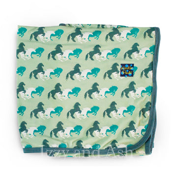Kickee Pants Infant Boys Aloe Wild Horses Print Swaddle Blanket|Kickee Pants Spring 2017|Kickee Pants Swaddle Blanket|Swaddle Blanket|Kickee Pants|Horse Blanket|Children's Accessories|Infant Boys Clothing|Baby Boys Clothing|Designer Children's Clothing|Designer Baby Clothing|Designer Baby Accessories