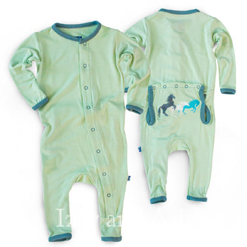 Kickee Pants Infant Boys Aloe Wild Horses Applique Coverall|Kickee Pants Spring 2017|Kickee Pants Boys Horse Coverall|Kickee Pants Boys Pajamas|Kickee Spring 2017|Green Pajamas|Horse Print Pajamas|Baby Boy PJ's|Designer Infant Clothing|Designer Baby Clothes|Horse Coverall|Horse Layette|Designer Layette