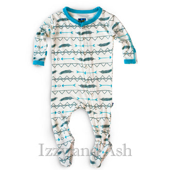 Kickee Pants Infant Boys Natural Southwest Print Footie|Kickee Pants|Kickee Pants Spring 2017|Boys Footie|Footie|Designer Baby Clothing|Trendy Kids Clothing|Boys Pajamas|Baby Boy Pajamas|Blue Pajamas|Feather Print Pajamas|Arrow Print Pajamas|Southwest Print Clothing|Ethnic Baby Clothing