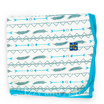 Kickee Pants Infant Boys Natural Southwest Swaddle Blanket|Kickee Pants Spring 2017|Kickee Pants Swaddle Blanket|Swaddle Blanket|Blue Swaddle Blanket|Bamboo Swaddle Blanket|Baby Boys Accessories|Ethnic Print Blankets|Ethnic Print Throws|Baby Bedding|Baby Eco Friendly Bedding|Baby Eco Friendly Blankets