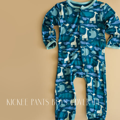 Kickee Pants Infant Boys Peacock Animal Coverall|Kickee Pants|Kickee|Kickee Pants Coverall|Giraffe Layette|Giraffe Baby Clothes|Baby Boy Clothing|Infant Boys Clothes|Blue Baby Clothes|Designer Children's Clothing|Trendy Baby Clothes|Cute Baby Clothes