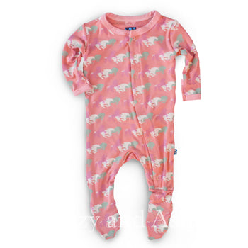 Kickee Pants Infant Girls Desert Rose Southwest Print Footie|Kickee Pants|Kickee Pants Spring 2017|Girls Footie|Pink Horse Footie|Pink Onesie|Pink Horse Footie|Girls Pajamas|Girls PJ's|Girls Pink Pajamas|Girls Pink PJ's|Girls Designer Pajamas