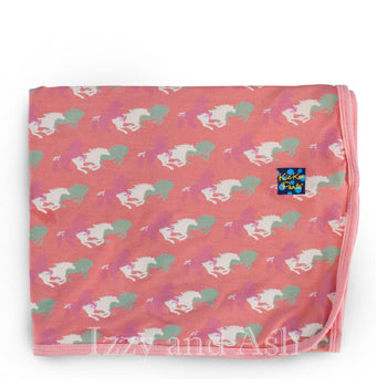 Kickee Pants Infant Girls Desert Rose Wild Horses Swaddle Blanket|Kickee Pants Spring 2017|Kickee Pants|Girls Pink Blanket|Girls Horse Blanket|Pink Horse Blanket|Swaddle Blanket|Kickee Pants Swaddle Blanket|Baby Blankets|Baby Girls Layette|Baby Girls Bedding|