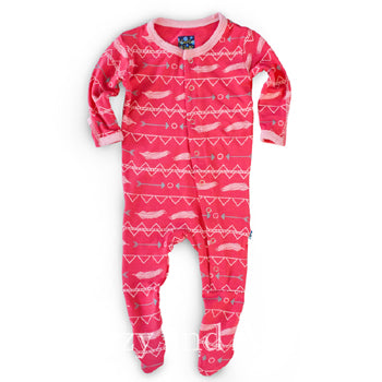 Kickee Pants Infant Girls Prickly Pear Southwest Print Footie|Kickee Pants Spring 2017|Kickee Pants Prickly Pear Southwest Footie|Prickly Pear|Prickly Pear Footie|Kickee Pants Pink Footie|Kickee Pants Southwest Footie|Baby Layette|Girls Pink Pajamas|Baby Girls Pink Pajamas|Feather Print Baby Clothes|Children Romper|Children|Kids|Kids Sleepwear