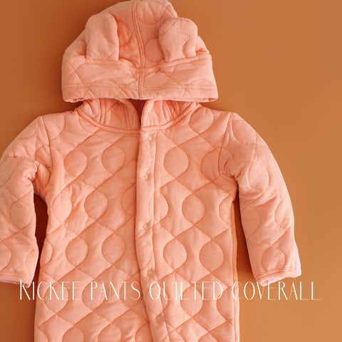 Kickee Pants Infant Girls Blush Quilted Coverall|Kickee Pants|Designer Baby Clothes|Kickee|Kickee Pants|Unique Baby Clothes|Quilted Pink Romper|Onesie with Ear|Pink Winter Clothes|Layette|Pajamas|Baby|Infant Girls Coverall|Girls Hooded Romper|Girls Hood with Ears