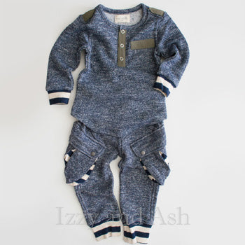 Miki Miette|Miki Miette Fall 2016|Miki Miette Vedder Cargo Sweatpants|Miki Miette Henley Shirt|Designer Infant Clothing|Designer Toddler Clothes