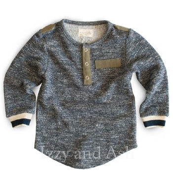 Miki Miette Boys Tweed Henley|Boys Henley Shirt|Toddler Boys Shirts|Designer Boys Shirts|Designer Baby Clothes|Trendy Baby Clothes|Fashionable Children's Clothes|Boys Shirts|Epaulet Shirts