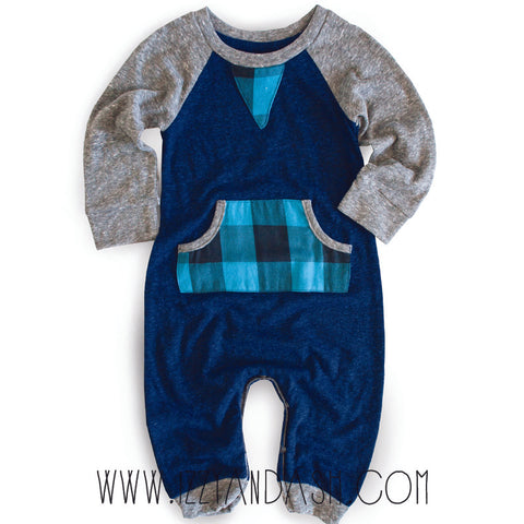 Miki Miette Infant Boys Blue Plaid Playsuit|Miki Miette|Miki Miette Fall 2017|Boys Layettes|Baby Boys Clothes|Unique Baby Clothes|Cute Baby Clothes|Boys Onesies|Blue Layettes|Blue Onesies|Plaid Onesies|Boys Fall Clothes|Baby Winter Clothes| Baby Fall Clothes