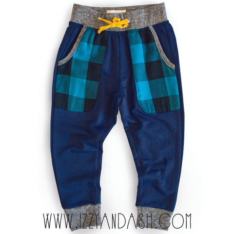 Miki Miette Infant Boys Blue Plaid Haydon Pant|Miki Miette|Miki Miette Fall 2017|Miki Miette Clothes|Boys Bottoms|Boys Pants|Toddler Sweatpants|Boys Activewear|Boys Blue Plaid Pants|Toddler Clothing|Boys Sports Clothes|Children Activewear|Boys Yoga Pants|Children Yoga Pants|Kids Yoga Clothes