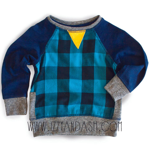Miki Miette Boys Blue Iggy Plaid Sweater|Miki Miette|Miki Miette Fall 2017|Miki Miette Clothing|Miki Miette Clothes|Boys Sweaters|Toddler Boys Sweaters|Toddler Clothing|Boys Fall Clothes|Boys Winter Clothes|Blue Sweater|Blue Plaid Sweater|Children Blue Sweater|Designer Boys Clothes