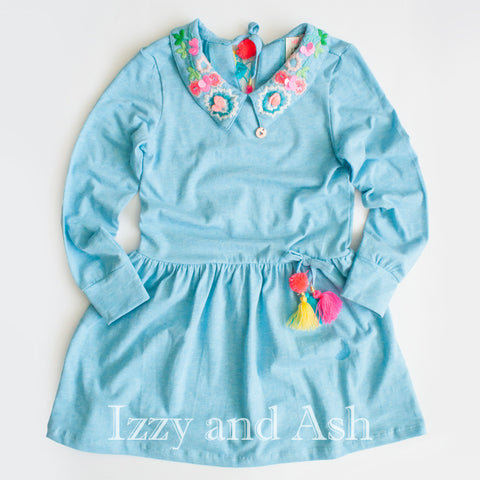 Mim Pi|Mim Pi Spring 2018|Girls Dresses|Peter Pan Collar|Izzy and Ash|Girls Dresses|Blue Dress|Toddler Girls Dresses|Toddler Dresses|Tween Dresses|Children's Clothes|Designer Children's Clothes