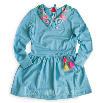 Mim Pi Girls Crochet Collar Dress|Mim Pi|Mim Pi Spring 2018|Peter Pan Collar|Peter Pan Collar Dress|Girls Dress|Children Dresses|Kids Dresses|Tween Dresses|Toddler Dresses|Blue Dresses|Girls Blue Dresses|Crochet Dress|Children Vintage Dresses|Kids Vintage Dresses|