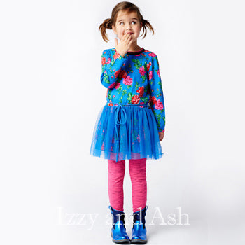 Mim Pi|Mim Pi Fall 2016|Mim Pi Girls Blue Floral Overlay Dress|Blue Floral Dress|Blue Dress|Toddler Dresses