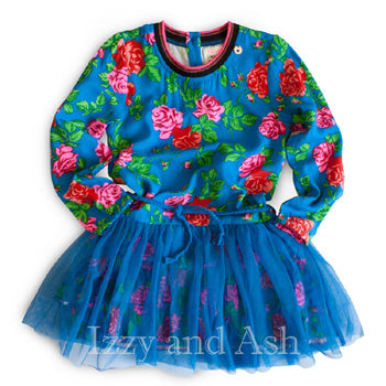 Mim Pi Girls Blue Floral Overlay Dress|Mim Pi|Mim Pi Fall 2016|Girls Blue Floral Dress|Blue Floral Dress|Tween Dresses|Toddler Dresses