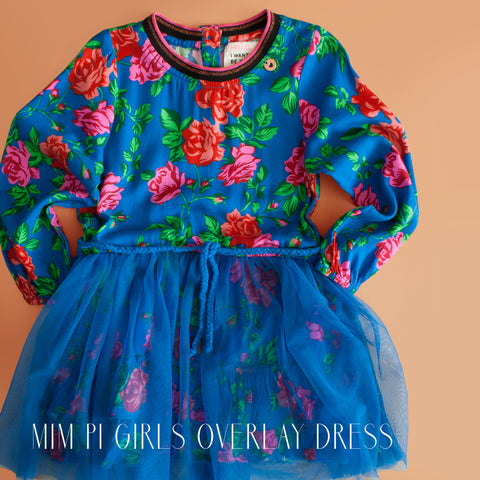 Mim Pi Girls Blue Floral Overlay Dress|Mim Pi|Mim Pi Clothes|Mim Pi Dress|Designer Girls Dresses|Designer Dresses for Kids|Children's Dresses|Designer Childrens Clothing|Designer Kids Clothes|Blue Dresses|Toddler Dresses|Toddler Girls Dresses|Tutu Dresses|Blue Tutu Dress|Floral Dress|European Children's Clothes|European Children's Clothing Lines