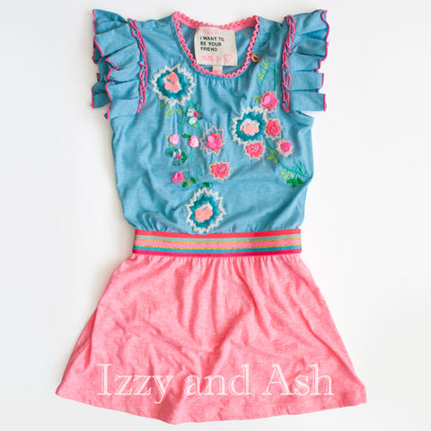 Mim Pi|Mim Pi Spring 2018|Mim Pi Girls Peter Pan Collar Inset Dress|Girls Blue Dresses|Vintage Children Dresses|Vintage Kids Clothes|Trendy Children's Clothes|Cute Kids Dresses