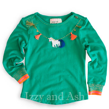 Mim Pi Girls Necklace Sweater|Mim Pi|Mim Pi Fall 2017|Mim Pi Clothing|Girls Unicorn Sweater|Toddler Girls Clothes|Toddler Style|Toddler Fashion|Tween Style|Tween Fashion|Green Sweater|Children Sweaters|Kids Sweaters|Girls Sweaters|Children Green Sweaters|Horse Sweater