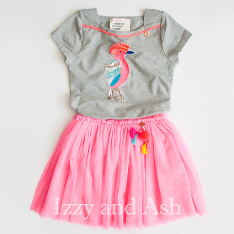 Mi Pi Girls Tutu Skirt|Mi Pi|Mim Pi Spring 2018|Izzy and Ash|Children Tutu Skirts|Kids Tutu Skirts|Girls Tutu Skirts|Toddler Tutu Skirts|Tween Tutu Skirt|Pink Tutu Skirt|Parrot Shirt|Parrot T-Shirt