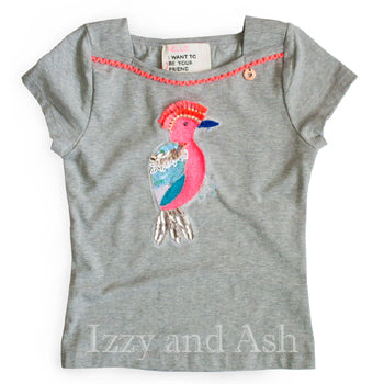 Mim Pi Girls Sequin Bird Top|Mim Pi|Mim Pi Spring 2018|Parrot T-Shirt|Sequin Bird Shirt|Toddler Tops|Tween Shirts|Children Sequin Shirts|Kids Sequin Shirts|Children Beaded Shirts|Kids Sequin Shirts|Cute Toddler Tees