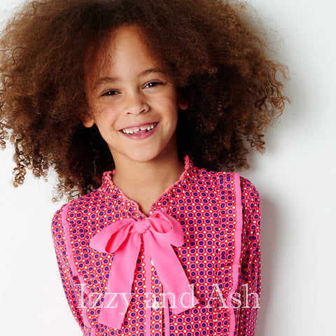 Mim Pi Girls Pink Dot Dress|Mim Pi|Mim Pi Fall 2017|Girls Pink Dress|Children Dresses|Children Vintage Dress|Girls Bow Dress|Bow Dresses|Children Fall Dresses|Designer Children's Clothes|Toddler Dresses|Tween Dresses
