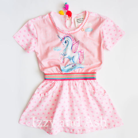 Mim Pi|Mim Pi Spring 2018|Izzy and Ash|Mim Pi Girls Unicorn Print Dress|Unicorn Dress|Girls Dresses|Children Pink Dresses|Toddler Girls Dresses|Trendy Kids Clothes