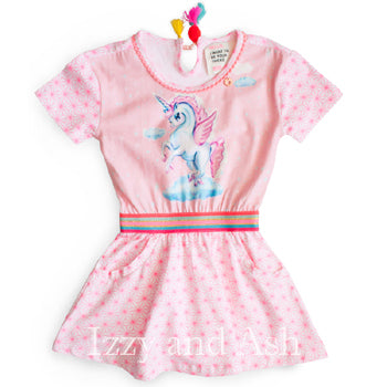 Mim Pi Girls Unicorn Print Dress|Mim Pi|Mim Pi Spring 2018|Tween Dresses|Toddler Girls Dresses|Unicorn Dress|Unicorn Dresses|Girls Dresses|Designer Children's Clothing Boutique|Pink Dresses|Pink Unicorn Dress
