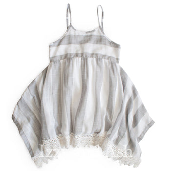 Mimi and Maggie Girls Grey and White Stripe Handkerchief Dress|Mimi and Maggie|Mimi and Maggie Spring 2018|Girls Dresses|Tween Dresses|Toddler Dresses|Stripe Dresses|Stripe Dress|Lace Dress|Girls Dresses|Children Dresses|Kids Dresses|Girls Grey Dress|Girls Gray Dress|Cute Girls Dresses|Trendy Children's Dresses