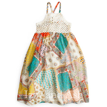 Mimi and Maggie Girls Patchwork Midi Dress|Mimi and Maggie|Mimi and Maggie Fall 2018|Mimi and Maggie Dresses|Girls Dresses|Tween Dresses|Toddler Dresses|Designer Children's Clothing|Designer Children's Dresses|Patchwork Dresses|Girls Summer Dresses|Children Maxi Dresses|Toddler Maxi Dresses
