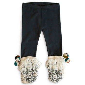 Mimi and Maggie Girls PomPom Jacquard Legging|Mimi and Maggie Pom Pom Legging