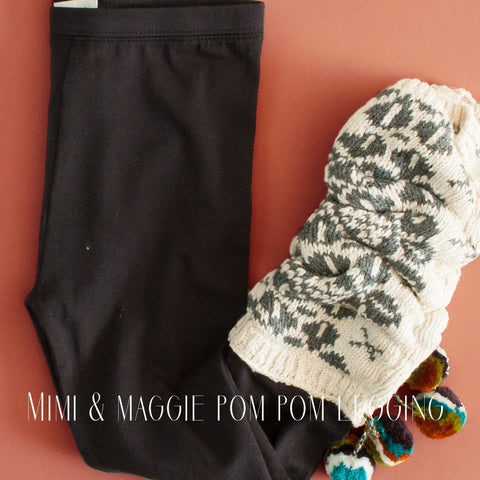Mimi and Maggie Girls Jacquard Pom Pom Legwarmer Legging|Mimi and Maggie|Mimi and Maggie PomPom Leggings|Legwarmers|Children's Legwarmers|Kids Legwarmers|Legwarmer Leggings|Girls Bottoms|Girls Designer Bottoms|Trendy Girls Clothes|Trendy Children's Clothing|Designer Girls Clothes|Tween|Tween Clothing|Tween Leggings|Activewear|Cute Girls Clothes|Fashionable Girls Clothes|Fashionable Tween Clothes