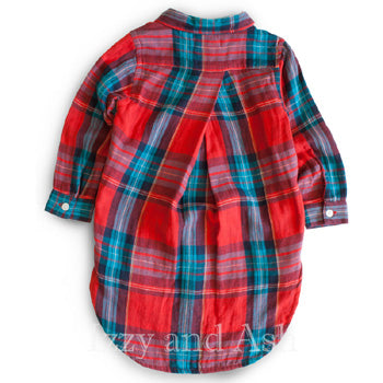 Mimi and Maggie Girls Plaid Tunic|Girls Designer Tops|Girls Designer Shirts|Toddler Girls Designer Shirts|Tween Designer Shirts|Mimi and Maggie Fall 2016
