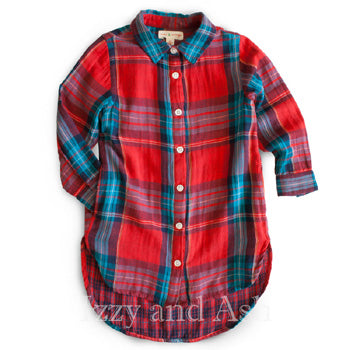 Mimi and Maggie Girls Plaid Tunic|Mimi and Maggie|Mimi and Maggie Fall 2016|Girls Plaid Shirt|Tween Plaid Shirt|Red Plaid Shirt