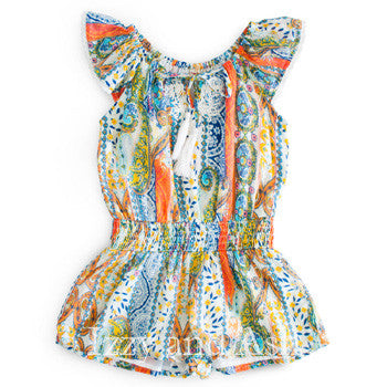 Mimi and Maggie Girls Lucca Peasant Romper|Mimi and Maggie|Mimi and Maggie Spring 2017|Mimi and Maggie Romper|Girls Romper|Tween Clothing|Tween Clothes|Designer Girls Clothing|Designer Children's Boutique|Toddler Girls Clothing|Designer Toddler Clothes|Trendy Children's Clothes|Rompers|Girls Rompers|Children's Rompers|Toddler Rompers|Children Shorts