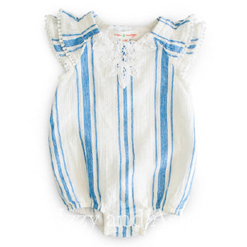 Mimi and Maggie Infant Girls Stripe Scooter Romper|Mimi and Maggie|Mimi and Maggie Spring 2017|Mimi and Maggie Baby Clothes|Designer Infant Clothing|Designer Baby Clothes|Chambray Stripe|Baby Bubble Rompers|Girls Clothes|Baby Girls Clothing|Mimi and Maggie Spring 2017 Preorders|Layette|Baby Pajamas