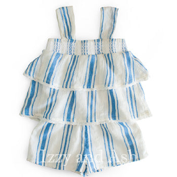 Mimi and Maggie Infant Girls Stripe Monica Romper|Mimi and Maggie Spring 2017|Mimi and Maggie|Baby Girls Clothes|Girls Clothing|Designer Baby Clothes|Designer Children's Clothing|Chambray Stripe|Romper|Jumper|Stripe Romper|Stripe Jumper|Chambray Romper|Chambray Jumpsuit|Toddler Girls Clothing|Baby Girls Clothes|Infant Girls Clothes