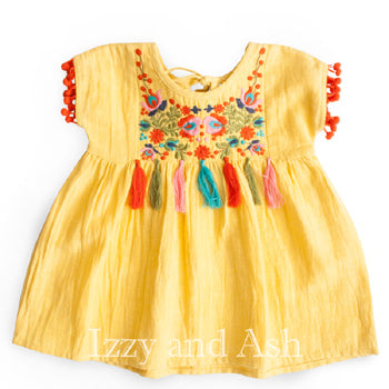 Mimi and Maggie|Mimi and Maggie Spring 2018|Mimi and Maggie Girls Yellow Dried Flowers Dress|Tween Dress|Toddler Dress|Toddler Girls Dress|Fringe Dresses|Ethnic Dresses|Yellow Dress|Yellow Dresses|Summer Dresses|Toddler Girls Dresses