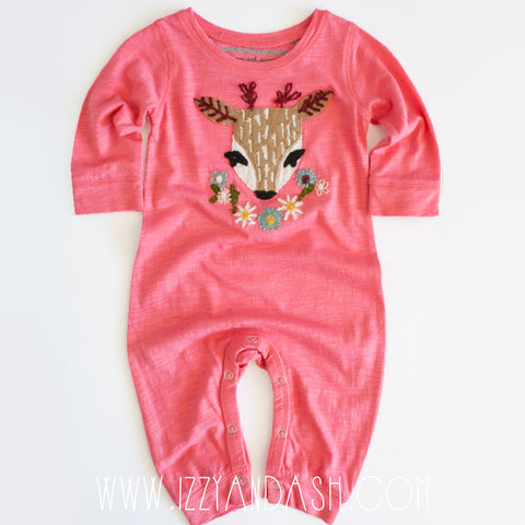Mimi and Maggie|Mimi and Maggie Infant Girls Deer Dreams Onesie|Mimi and Maggie Clothing|Girls Onesies|Girls Deer Onesies|Pink Onesies|Girls Layettes|Children Onesies|Infant Layettes|Infant Girls Onesies|Deer Onesie|Baby Clothing|Unique Baby Clothes