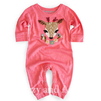 Mimi and Maggie Infant Girls Deer Dreams Onesie|Mimi and Maggie|Izzy and Ash|Designer Children's Clothing|Cute Layettes|Deer Onesies|Deer Onesie|Baby Onesies|Baby Girls Onesies|Pink Onesie|Pink Layette|Pink Nightgown|Baby PJs|Baby Girls PJs|Baby Pajamas|Baby Girls Pajamas