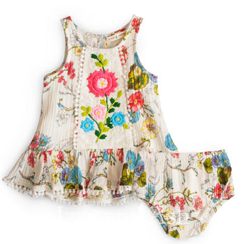 Mimi and Maggie|Mimi and Maggie Infant Girls Scattered Flowers 2pc Set|Mimi and Maggie Spring 2018|Baby Outfits|Baby Sets|Baby Girls Outfits|Infant Outfits|Baby Bloomers|Infant Bloomers|Trendy Baby Clothes|Cute Baby Clothing|Bohemian Baby Clothes|