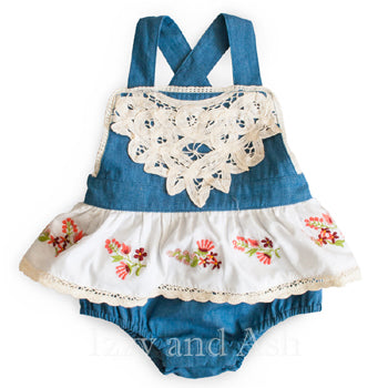 Mimi and Maggie Girls Denim Romper|Mimi and Maggie|Mimi and Maggie Spring 2018|Baby Layettes|Infant Girls Layettes|Infant Clothing|Cute Baby Clothes|Cute Baby Clothing|Baby Girls Clothes|Baby Girls Clothing|Girls Layettes|Designer Layettes|Designer Baby Clothing