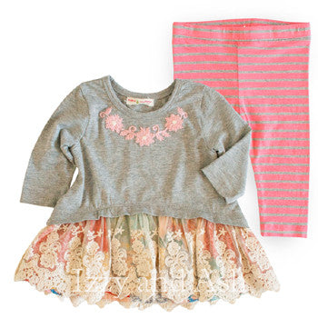 Mimi and Maggie Girls Winter Gardens Top & Leggings|Mimi and Maggie| Izzy and Ash|Mimi and Maggie Fall 2017|Baby Girls Sets|Girls Lace Dress|Girls Pink Stripe Legging|Girls Dresses|Dress|Children Dresses|Trendy Children Dresses|Toddler Clothing|Toddler Girls Dresses|Toddler Girls Clothing|Designer Girls Clothing|Designer Toddler Clothes
