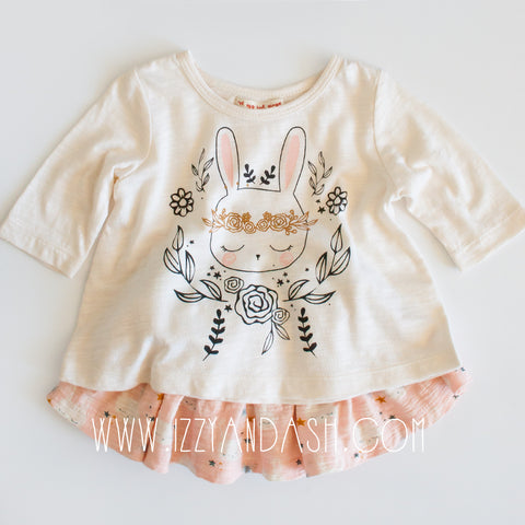 Mimi and Maggie|Mimi and Maggie Fall 2017|Mimi and Maggie Infant Girls Bunny Flowers Tee and Skirt Set|Unique Baby Clothes|Toddler Girls Clothes|Baby Girls Clothes|Cute Baby Clothes|Trendy Baby Clothing