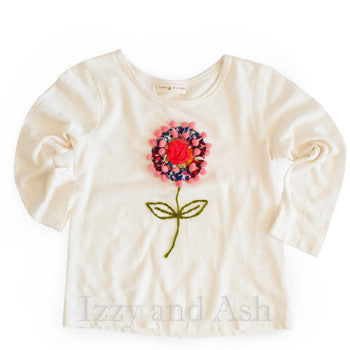 Mimi and Maggie Girls Pom Pom Flower Tee|Mimi and Maggie|Mimi and Maggie Fall 2017|Girls Tops|Pom Pom Shirt|White T-Shirt|Girls Tops|Tween Blouses|Toddler Blouses|Designer Children's Clothing|Bohemian Children's Clothes|Trendy Children's Clothes|Fashionable Toddler Clothin