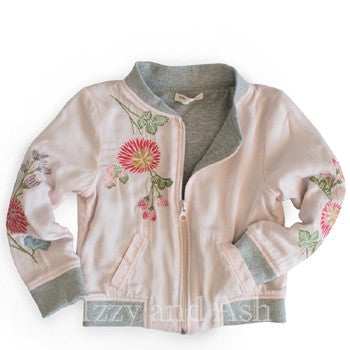 Mimi and Maggie Girls Floral Embroidered Silky Jacket|Mimi and Maggie|Mimi and Maggie Fall 2017| Izzy and Ash| Mimi and Maggie Outerwear|Mimi and Maggie Pink Jacket|Trendy Children's Jackets|Kids Bomber Jacket|Children Bomber Jacket|Children Silk Jacket|Kids Silk Jacket|Toddler Silk Jacket|Toddler Girls Silk Jacket|Toddler Outerwear|Toddler Girls Outerwear|Tween Outerwear|Tween Clothing|Girls Outerwear|Kids Outerwear|Girls Jackets|Kids Jackets|Toddler Jackets|Tween Jackets